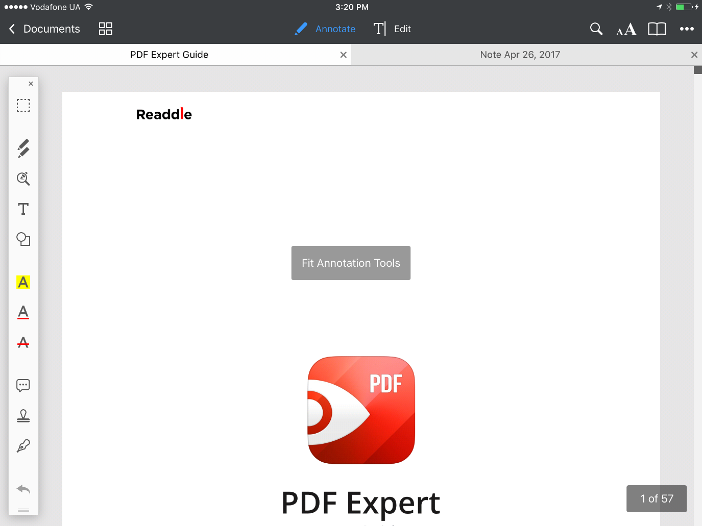 how to fit a page readdle knowledge base