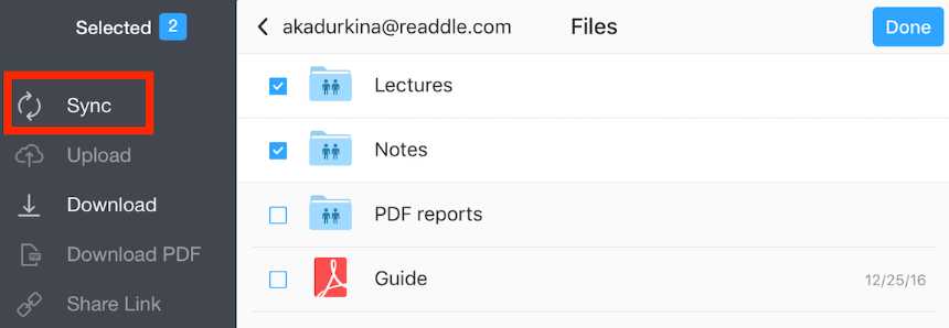 Sync a folder from the web storage - Readdle Knowledge Base