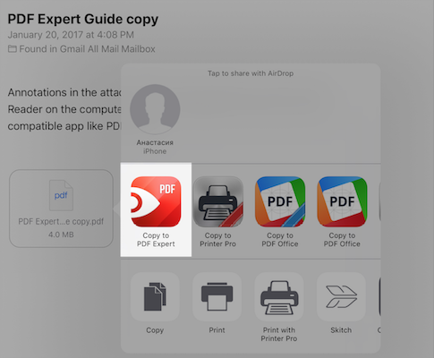 There is no PDF Expert in the 'Open in' dialogue - Readdle Knowledge