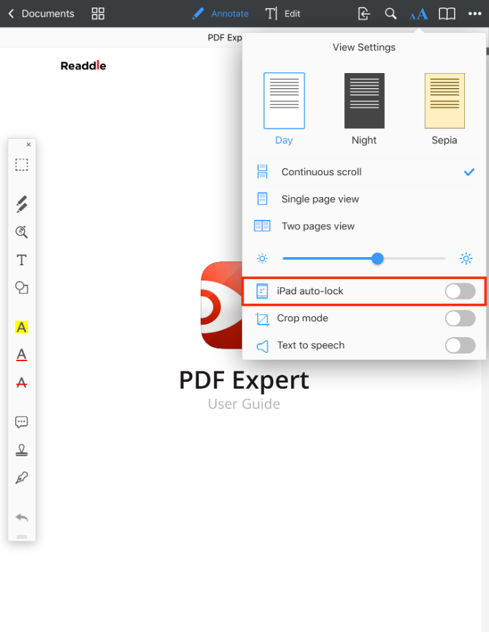 Disable device auto-lock in PDF viewer - Readdle Knowledge Base